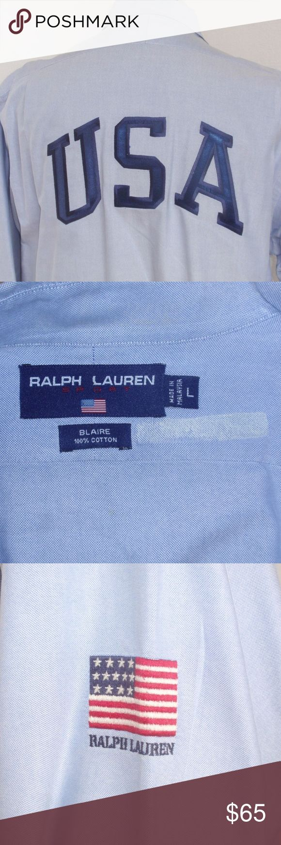 """Ralph Lauren 1993 USA Flag Blue Button Down Oxford Men's awesome 1993 blue oxford button down shirt from 1993 Large USA applique on the back American Flag on right sleeve  Maker: Ralph Lauren Fabric: 100% Cotton Color: Blue Size: Large  generously sized  Measurements  Shoulder to Shoulder: 22"""" Armpit to Armpit: 28 1/4"""" Sleeve Length from Shoulder Seam: 25 1/4""""  Bottom of collar to Hem: 35""""       Condition:  The  white mark by the label on the inside is the cleaners label which I removed. EUC…"""