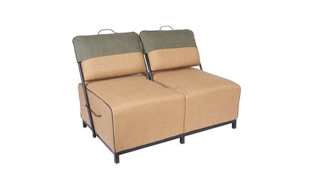 Two seater sofa with swivel backrest