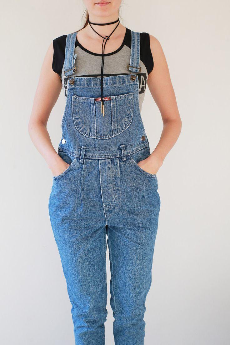 Vintage Woman Jumpsuit Romper Denin Dungaree 90s Jeans Overall