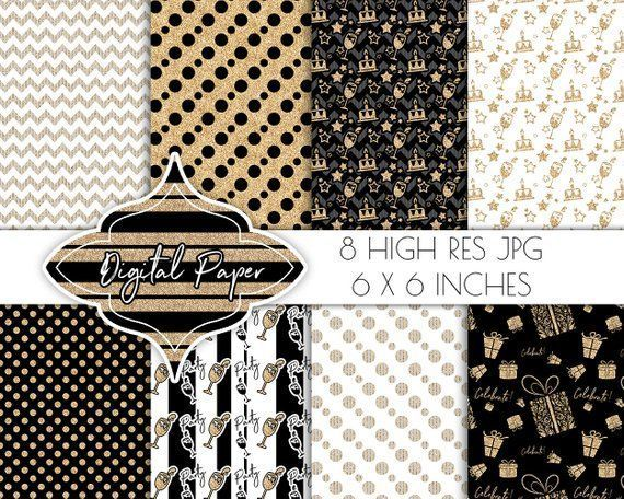 Birthday digital papers, party scrapbook papers, digital paper pack, invitation jpg, birthday clipart, black white gold glitter gift wrap