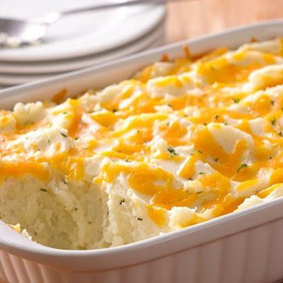 Two-Cheese and Rosemary Mashed Potato Casserole @keyingredient #cheese #cheddar #casserole