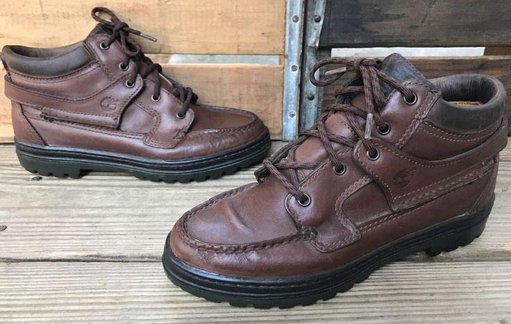 TIMBERLAND GORE-TEX Brown Leather Moc Toe Hiking Boots Women's 6.5M #Timberland #HikingTrail #WalkingHiking