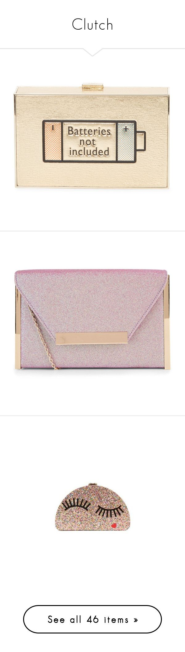"""""""Clutch"""" by mamatoodie-1 ❤ liked on Polyvore featuring bags, handbags, clutches, gold, gold clutches, chain strap purse, metallic purse, anya hindmarch purse, gold box clutch and purses"""