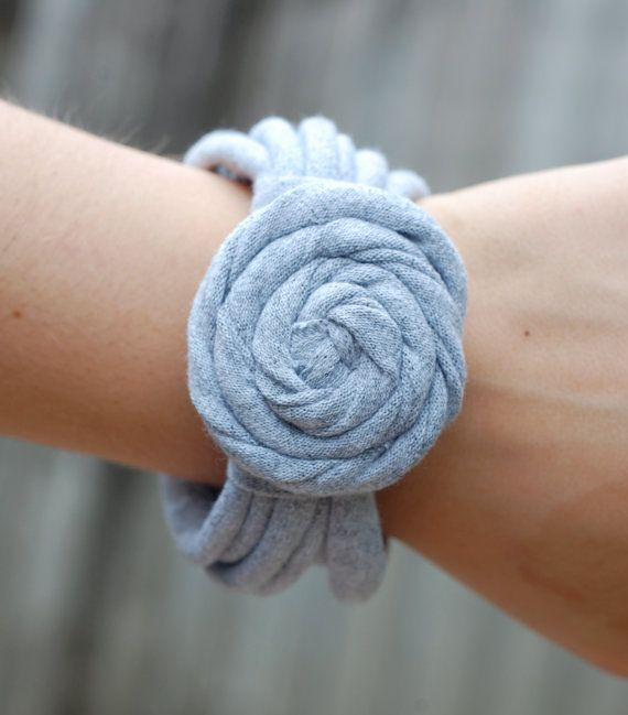 T shirt Bracelet with wrap flower!