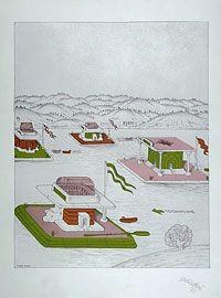 Il pianeta come festival (La planète comme fête), Ettorre Sottsass, 1973 Radeaux pour écouter de la musique de chambre Lithographie