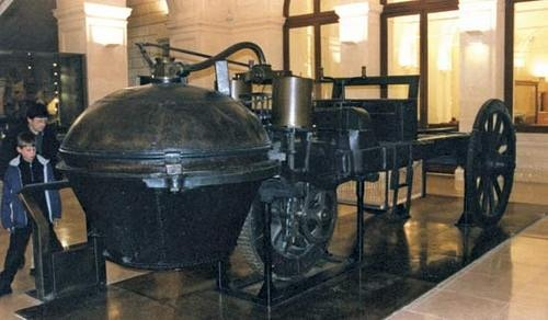 An early steam powered vehicle, the Fardier à vapeur invented by Nicolas-Joseph Cugnot in 1769. It was used by the French military to haul artillery. There is some evidence it could actually run, making it the first successful steam car, but was never put into production due to some inherent instability and the fact that it did not perform the way the French Army wanted it to.