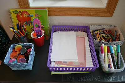 Art & writing center set up to encourage independent play.