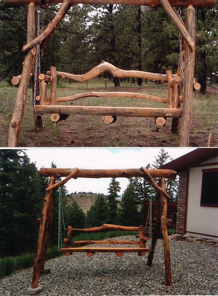log furniture colorado | ... your sweetie next to the chiminea on your own custom built log swing