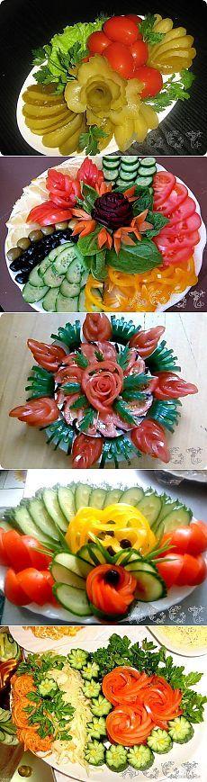 ✔ Как красиво подать нарезки Овощная тарелка  Самое простое блюдо можно сделать необыкновенно праздничным, если его оригинально со вкусом оформить и подать на красиво сервированный стол.  Пусть Ваша закуска будет самой красивой, а стол выглядит всегда богато и празднично!