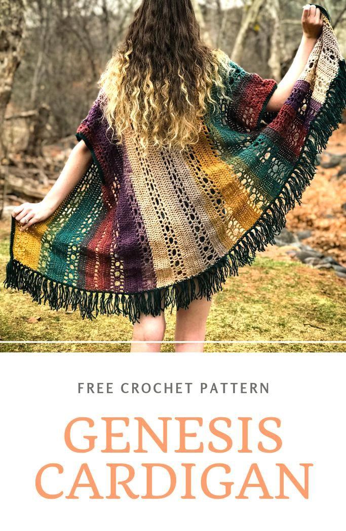 Women/'s Cardigan Bohemian Kimono Crochet Sweater