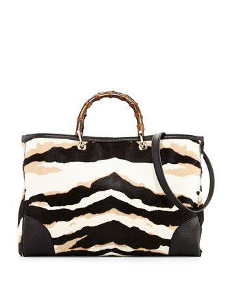 41677b367e3 Gucci Handle Bag - Black Flame Print Bamboo Bag Natural White - in ...