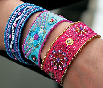 Embroidered bracelets - these are gorgeous!!