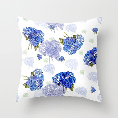 Indoor Decorative Pillow Cover  Cape Cod Hydrangea by frenchscript, $30.00