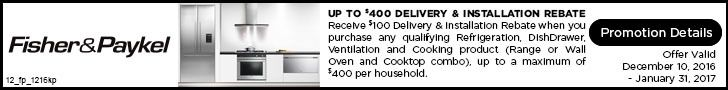 Get a $100 delivery and installation rebate when you buy any qualifying Fisher & Paykel fridge, dishwasher, ventilation and cooking product, up to a maximum of $400 per household. Offer valid through January 31, 2017. Learn more: http://www.bobmillers.com/promotions/promos