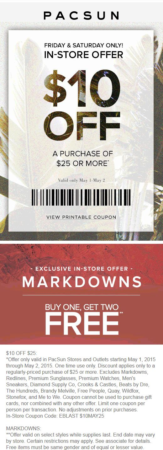 Pinned May 1st 10 off 25 at PacSun coupon via The