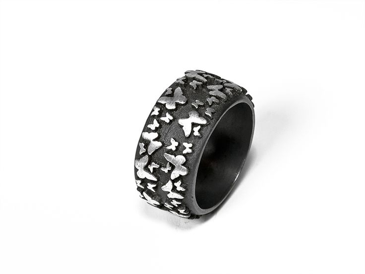 Junction Art Gallery - Leama Drew Butterflies Ring silver and oxidised silver £105.00 http://www.junctionartgallery.co.uk/artists/jewellery/leoma-drew/butterflies-ring-wide