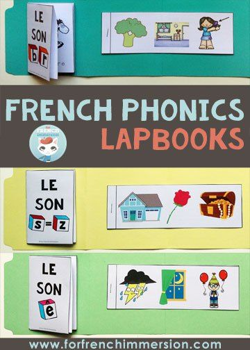 Writing mini-books: included in the French phonics lapbooks.  Fun and engaging activities for lapbooks and interactive notebooks. Kids focus on one letter-sound correspondence at a time!