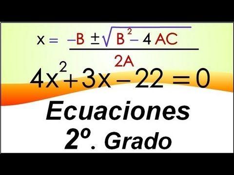 Ecuaciones de Segundo Grado por Fórmula General - YouTube