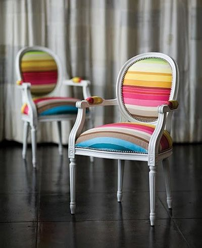 Rainbow chairs. #coloreverydayDining Room, Dining Chairs, Rainbows, Vibrant Colors, Upholstered Chairs, Accent Chairs, Stripes, Furniture, Chairs Design