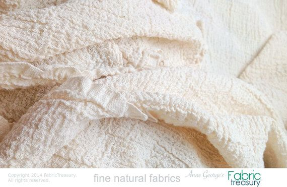 """Dyeable ORGANIC COTTON. Cotton Crepe Fabric. Crinkled Fabric. Washed Crepe 20s. 36"""" crinkled width / 50"""" stretched width."""