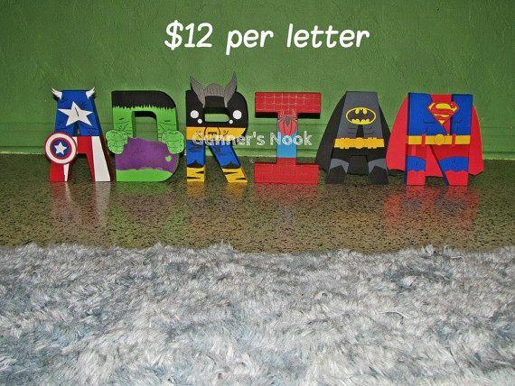 Superhero Character Letter Art por GunnersNook en Etsy, $12.00