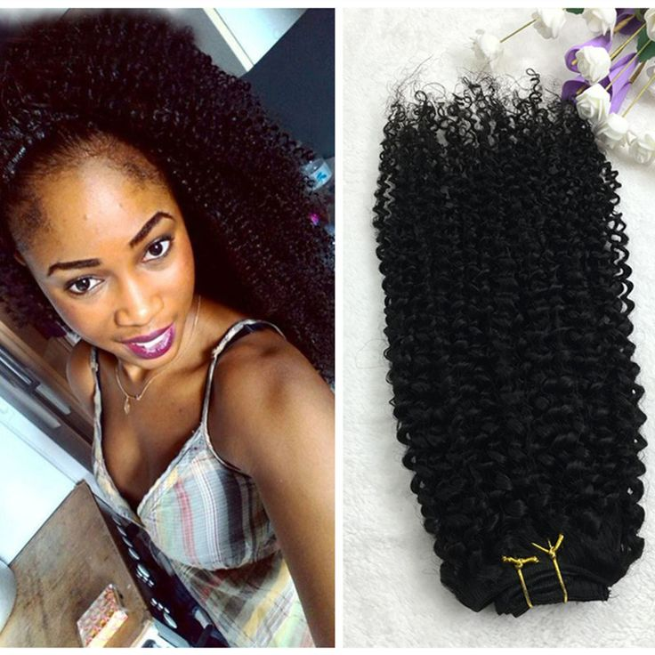 Full Shine Brazilian Curly Clip ins Afro Kinky Curly Clip in Extensions 7pcs 100…