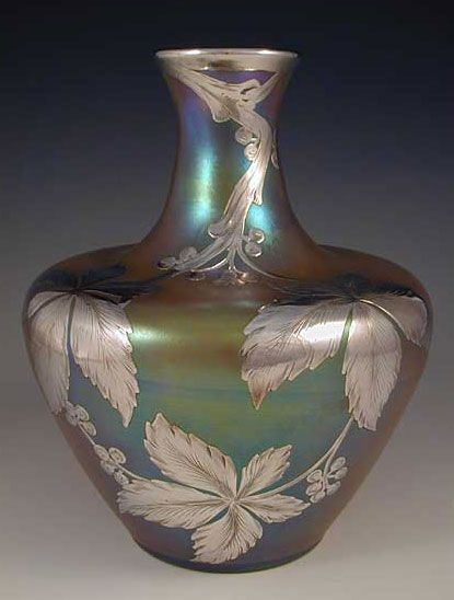"""Loetz Art Nouveau Irridescent Glass Vase with Silver Overlay, 1905, Marked """"Sterling"""", Austria"""