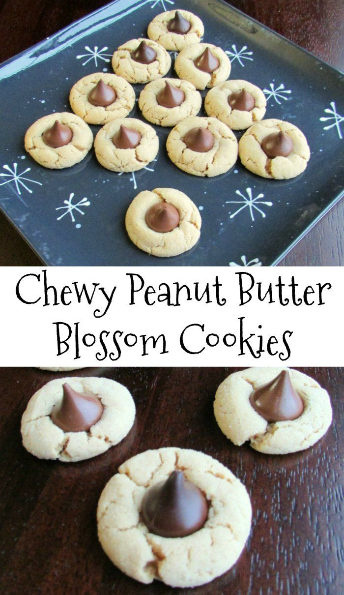A chewier version of the classic blossom cookie. A soft peanut butter cookie hugs a chocolate candy for a piece of holiday heaven! It just wouldn't be Christmas without them!  #christmas #cookies #christmascookies #recipes