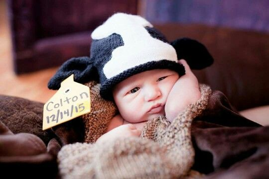 Cow hat, baby's first picture