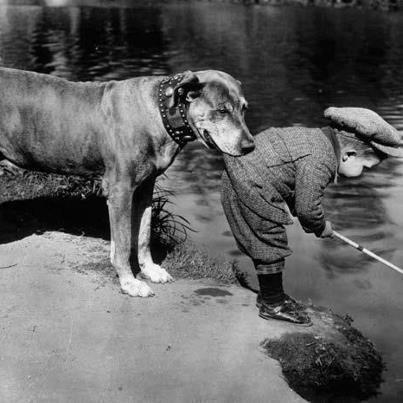 little boy & dog vintage photo
