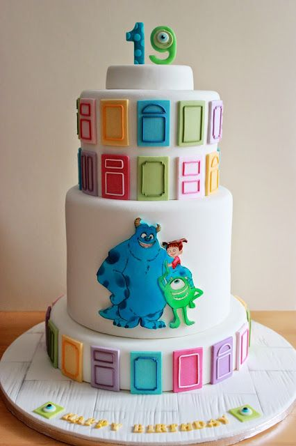 Hand painted Monsters, Inc. Cake