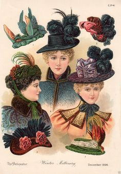 1896 PRINT ARTICLE: Winter Millinery Victorian Ladies' Fashion Hats Bonnets …