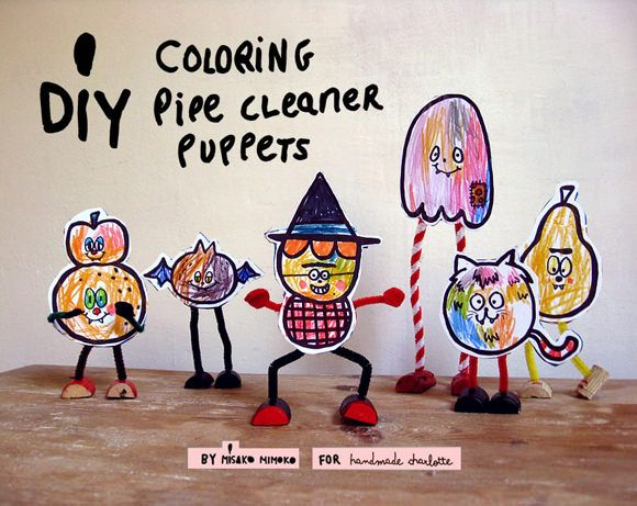 Halloween Kids Craft Pipe Cleaner Coloring Puppets - Free Printable