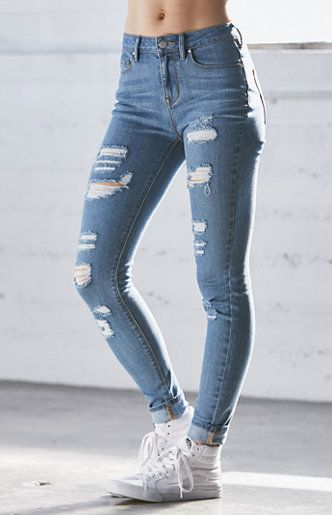 Tally Blue Ripped High Rise Skinny Jeans