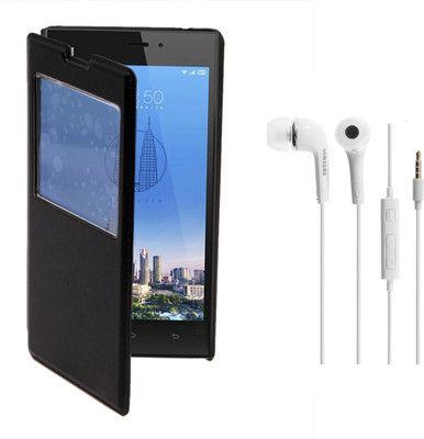 KolorEdge Flip Cover(Black) and Hands Free for Xiaomi Redmi 1S (KEGlflipRedmi1sblk+HF) Combo Set only for Rs.570