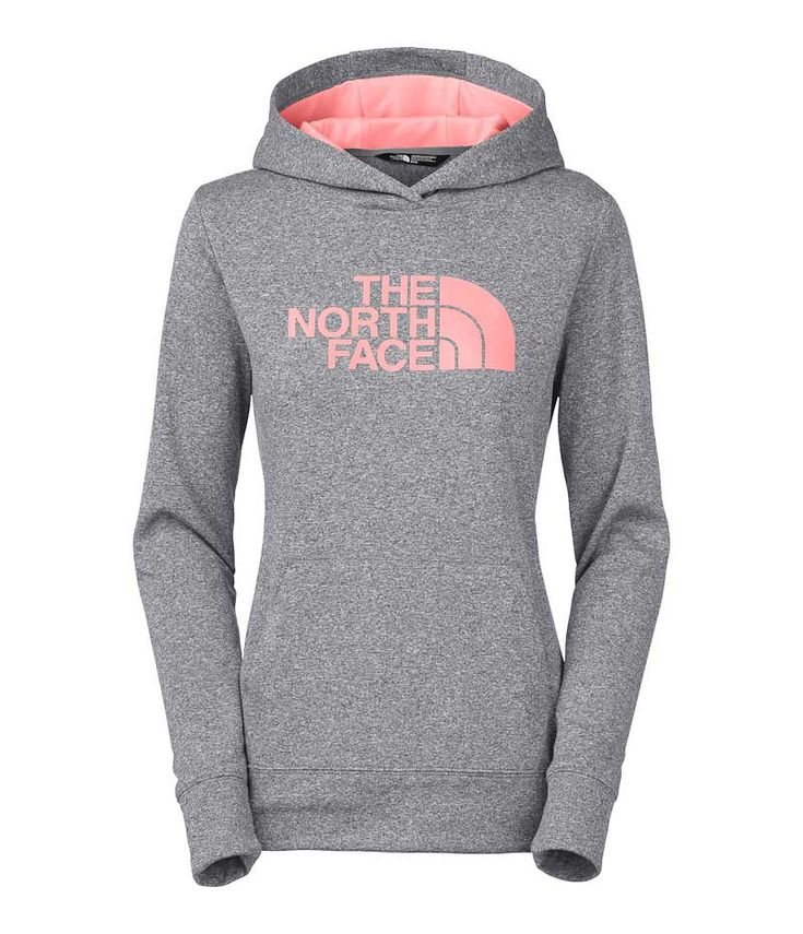 The North Face Fave Pullover Hoodie for Women in Grey Heather and Neon Peach