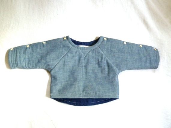Chambray & Linen Quilted Sweatshirt Jacket by HarrietsHaberdashery, $68.00