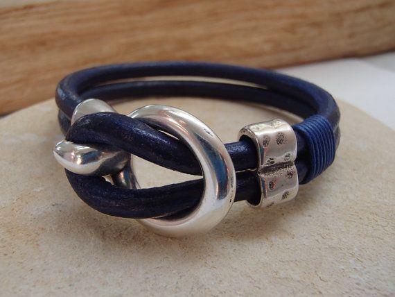 Marine blue leather bracelet