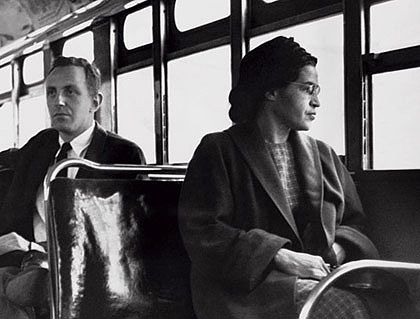 Rosa Parks when she refused to give up her seat for a white passenger in 1955.