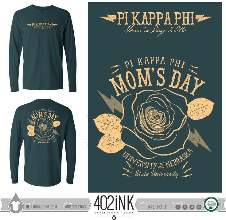 #402ink #402style 402ink, Custom Apparel, Greek T-shirts, Sorority T-shirts, Fraternity T-shirts, Greek Tanks, Custom Greek Apparel, Screen printed apparel, embroidered apparel, Fraternity, Pi Kappa Phi, Mom's Day, Family Weekend
