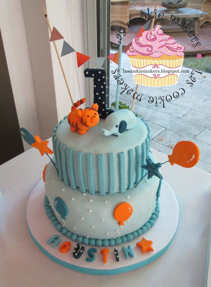 First year birthday cake for boy torta para 1er a o varon - Decoracion para cumpleanos de 1 ano de varon ...