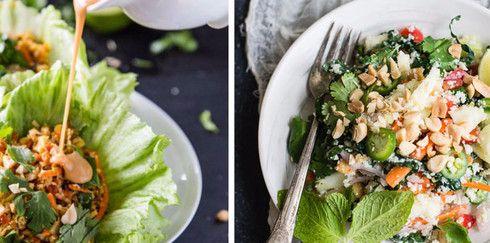 Вегетарианский рис из цветной капусты и брокколи по-тайски
