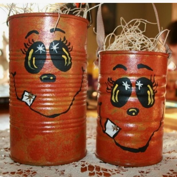 tin can craft | Painted Halloween Pumpkin Tin Can Craft- So so cute!!! Thank you Saige!!!