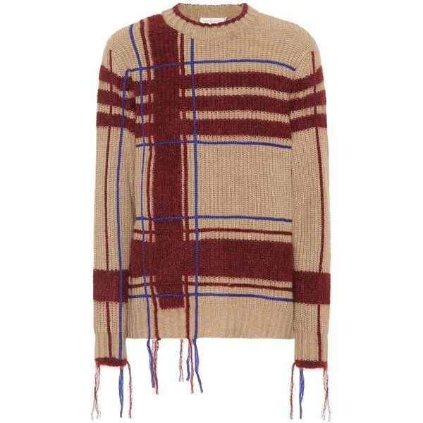Tory Burch Eden Plaid Wool-Blend Sweater ($525) ❤ liked on Polyvore featuring tops, sweaters, beige, wool blend sweater, beige sweater, tory burch sweater, plaid top and tory burch tops