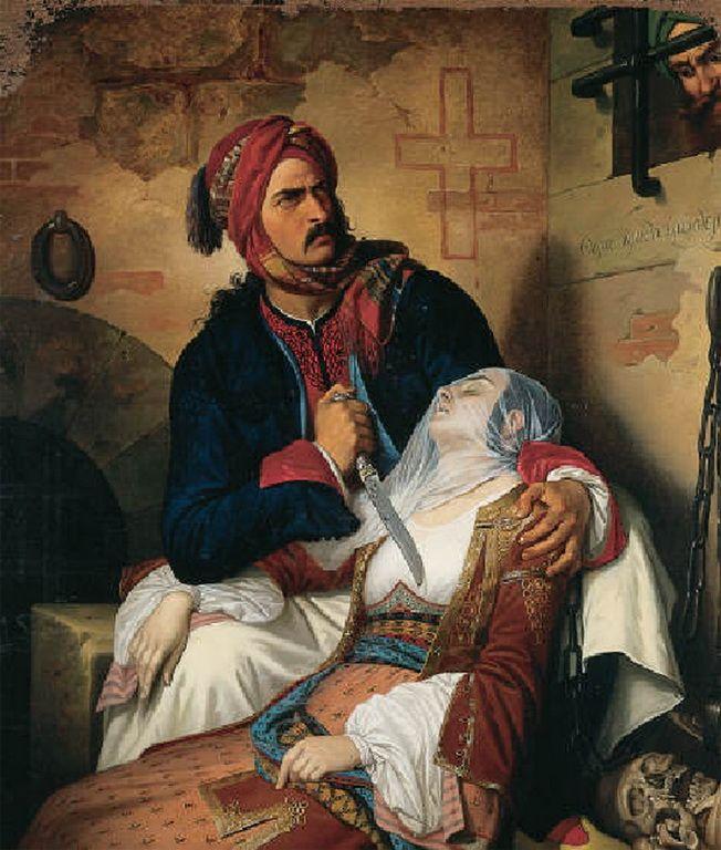 Cesare Mussini (1804-1879)-Ο Γεώργιος Ρόδιος σκοτώνει την γυναίκα του Δήμητρα για να μη πέσει θύμα Τούρκων