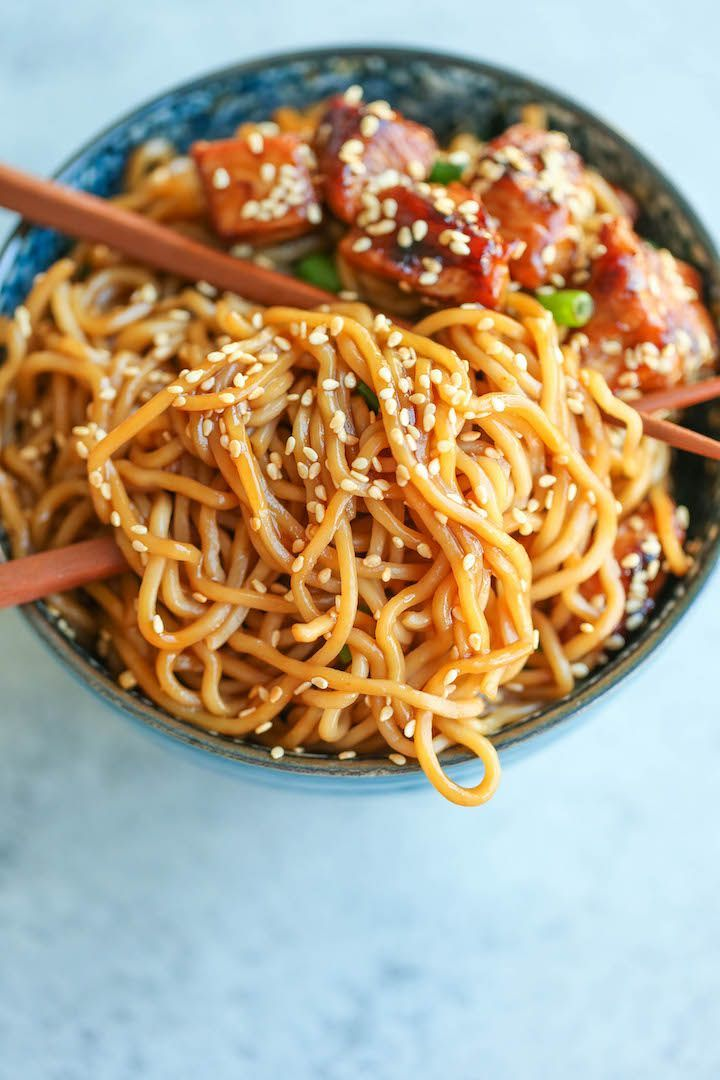 Teriyaki Chicken Noodle Bowls Thick and chewy Brow…