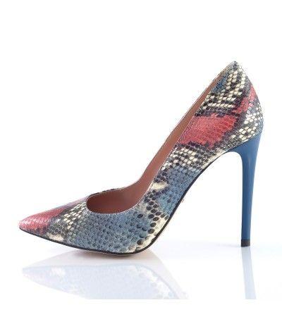 Pantofi stiletto sarpe bleumarin