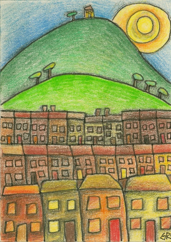 ACEO Yellow Lines II Made in Wales Cartoon original drawing of Welsh Valleys landscape £10.00