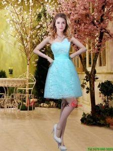 Verano hermoso una línea vestidos de dama de honor con la correa en Azul Aqua - €55.84