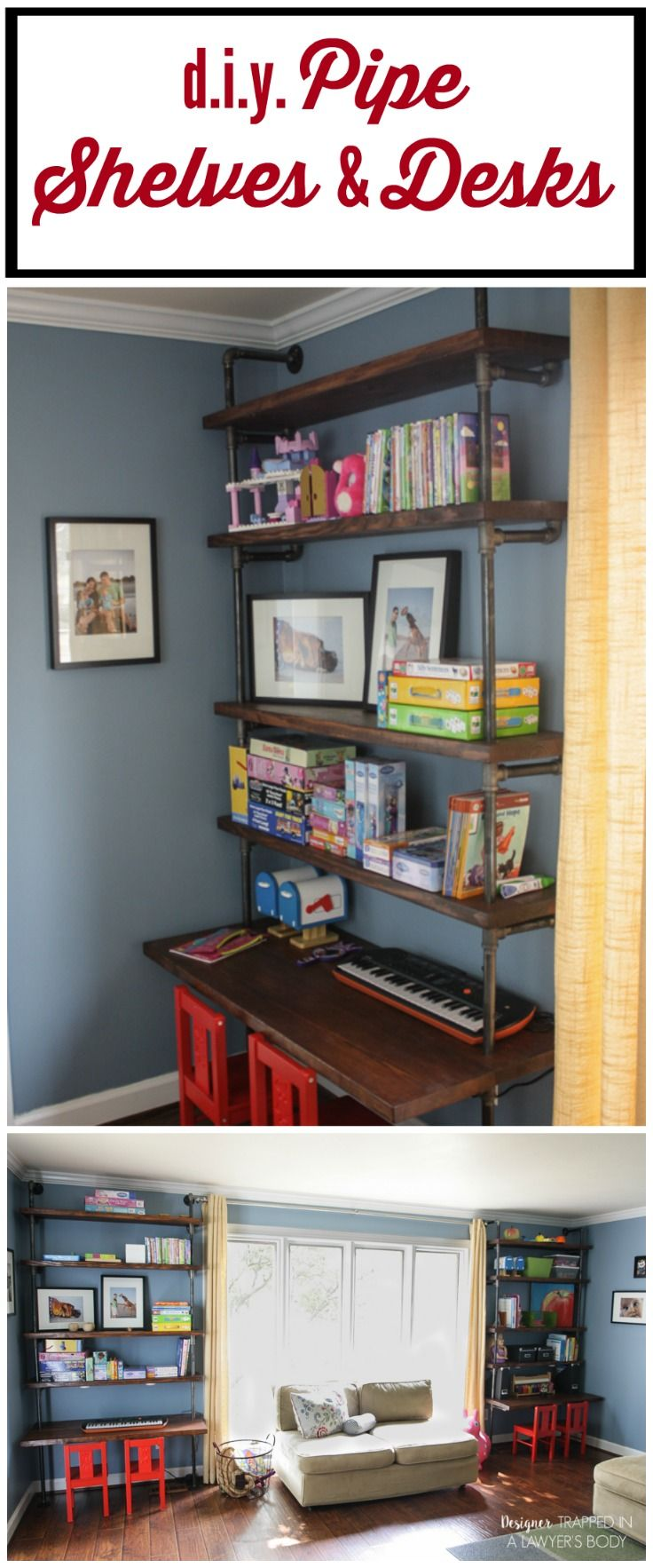 THIS IS AWESOME! This DIY pipe shelves tutorial includes built in desks--so original! Full tutorial by Designer Trapped in a Lawyer's Body.